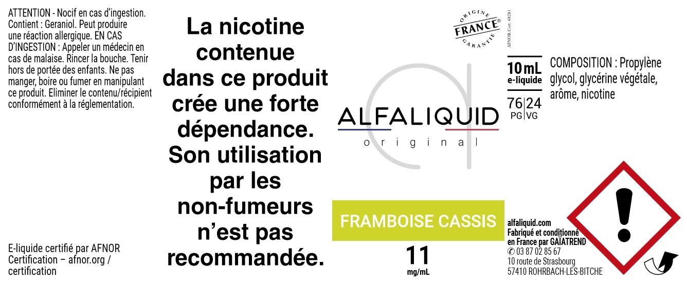 E-Liquide FRAMBOISE CASSIS 10ml - Original Fruitée | Alfaliquid étiquette 11 mg