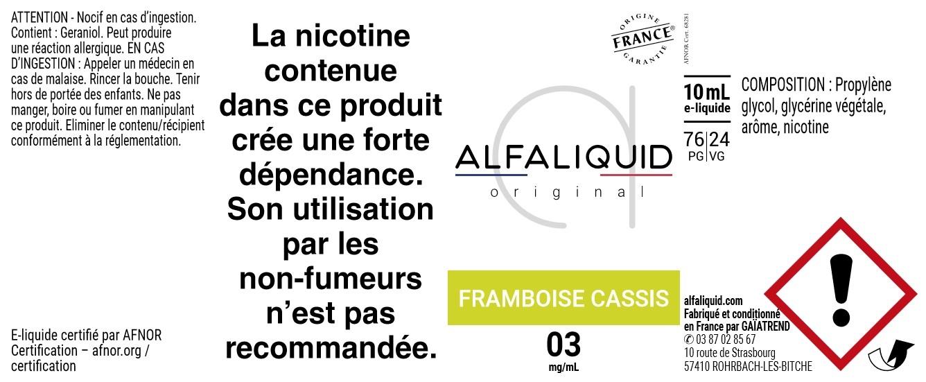 E-Liquide FRAMBOISE CASSIS 10ml - Original Fruitée | Alfaliquid étiquette 3 mg