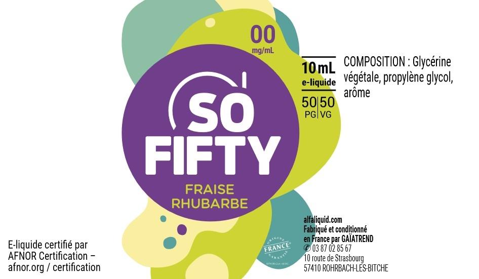 E-Liquide FRAISE RHUBARBE 10ml 50/50 - Sofifty | Alfaliquid étiquette 0 mg