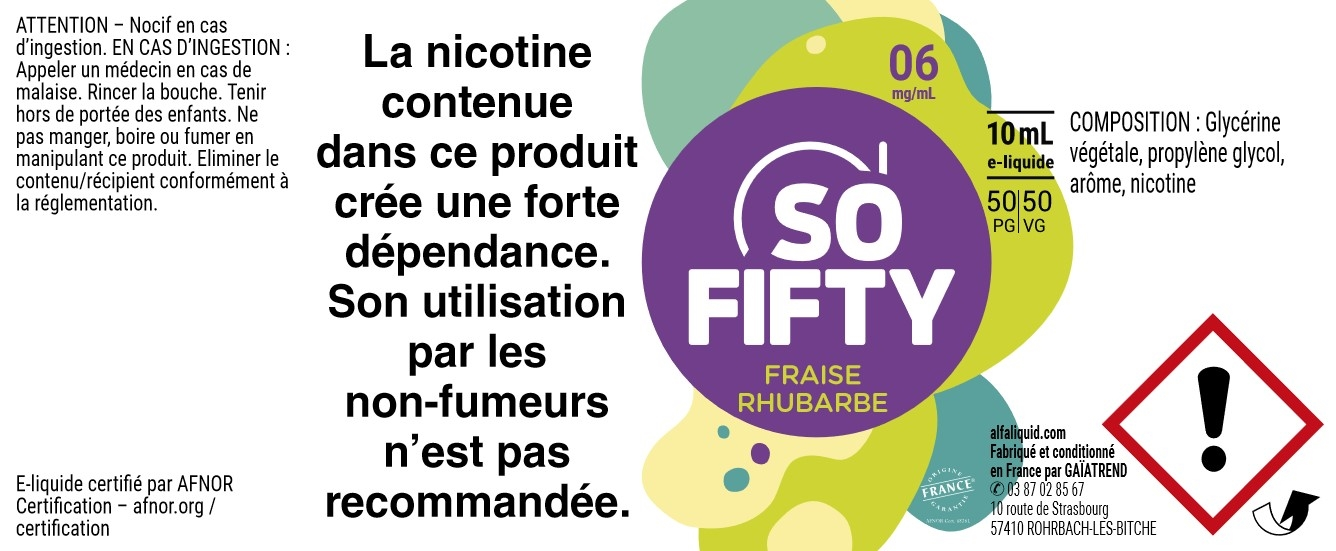 E-Liquide FRAISE RHUBARBE 10ml 50/50 - Sofifty | Alfaliquid étiquette 6 mg