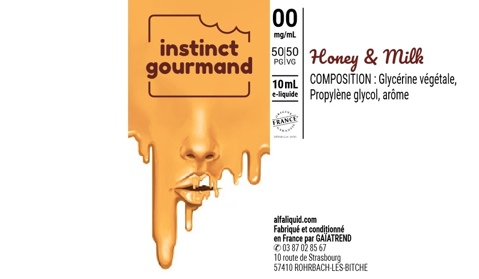 E-Liquide HONEY & MILK 10ml 50/50 - Instinct Gourmand | Alfaliquid étiquette 0 mg