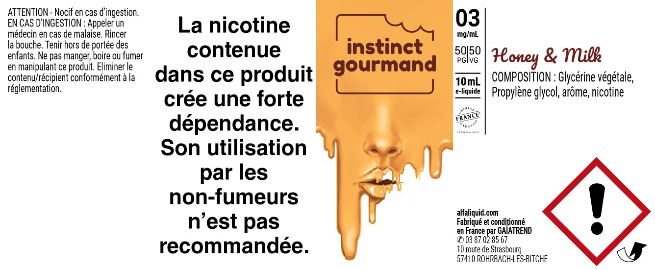 E-Liquide HONEY & MILK 10ml 50/50 - Instinct Gourmand | Alfaliquid étiquette 3 mg