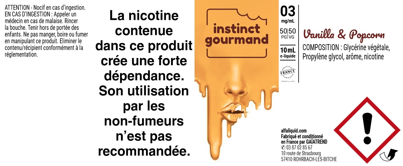 E-Liquide VANILLA & POPCORN 10ml 50/50 - Instinct Gourmand | Alfaliquid étiquette 3 mg