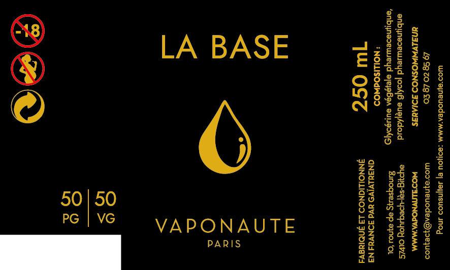 LA BASE 250 ML - VAPONAUTE PARIS étiquette 0 mg