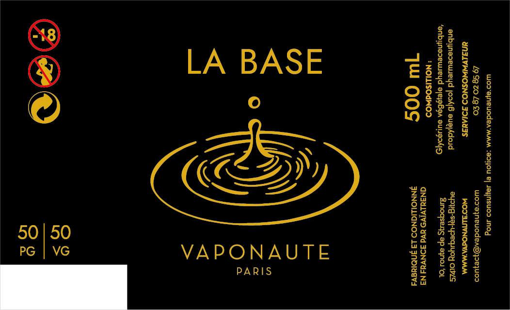LA BASE 500 ML - VAPONAUTE PARIS étiquette 0 mg