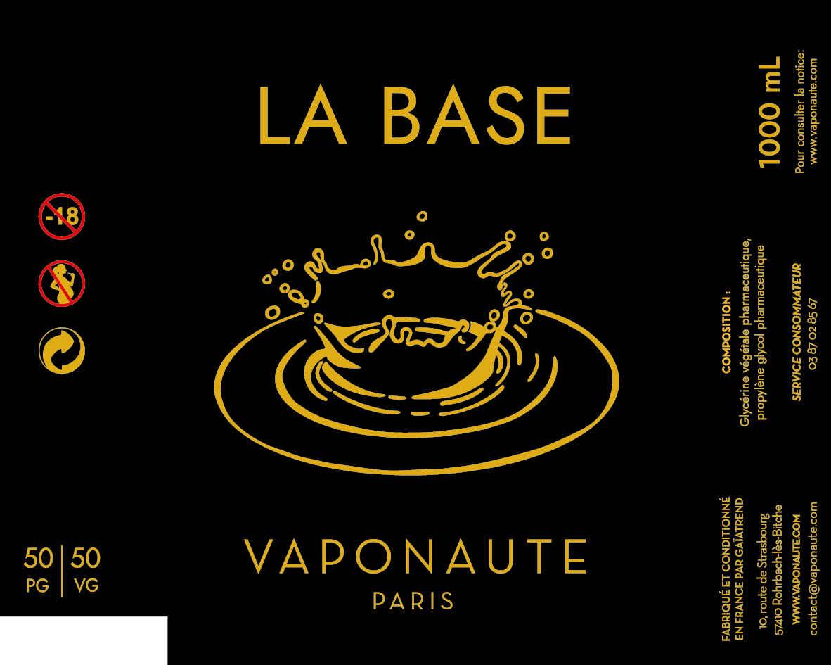 LA BASE 1000 ML - VAPONAUTE PARIS étiquette 0 mg