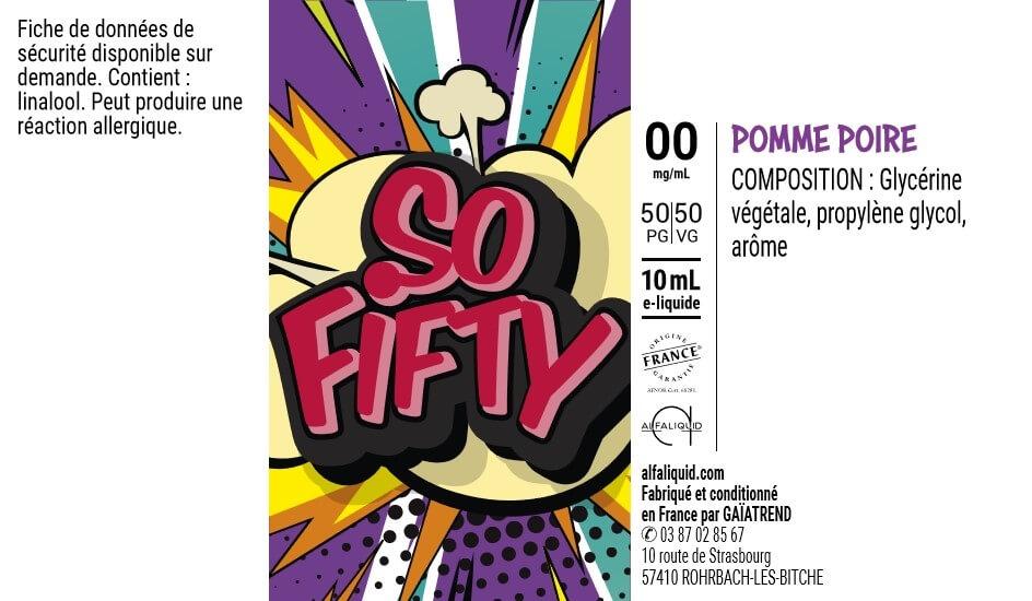 E-Liquide POMME POIRE 10ml 50/50 - Sofifty | Alfaliquid étiquette 0 mg