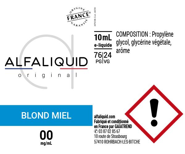 E-Liquide Blond Miel - Original Classique | Alfaliquid étiquette 0 mg