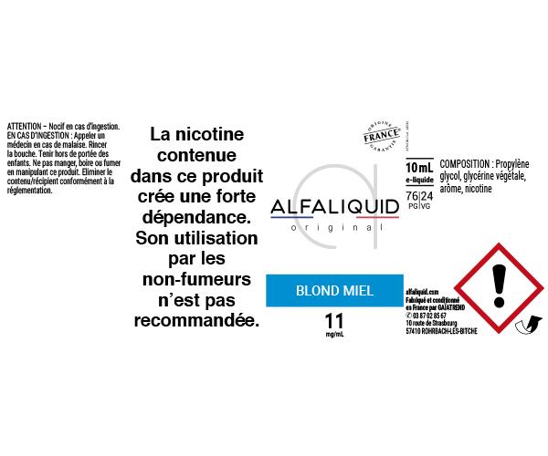 E-Liquide Blond Miel - Original Classique | Alfaliquid étiquette 11 mg