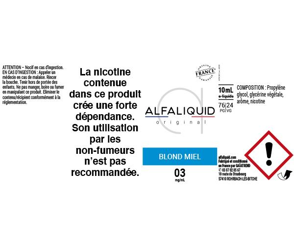 E-Liquide Blond Miel - Original Classique | Alfaliquid étiquette 3 mg