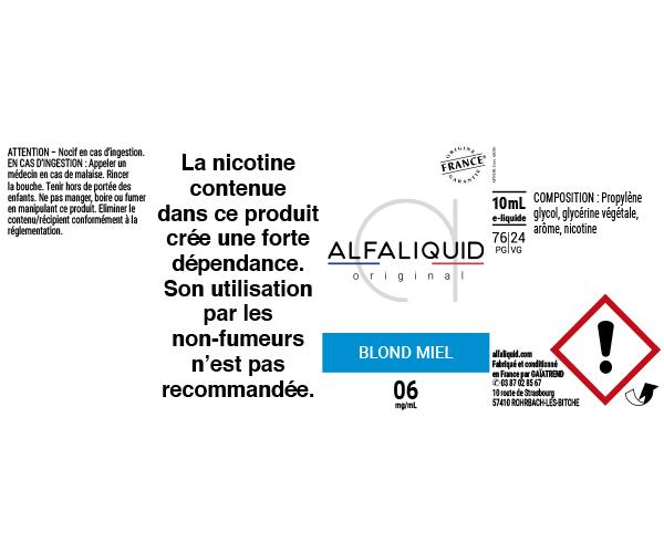 E-Liquide Blond Miel - Original Classique | Alfaliquid étiquette 6 mg