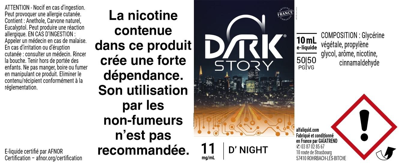 E-Liquide D'Night 10ml - Dark Story | Alfaliquid étiquette 11 mg