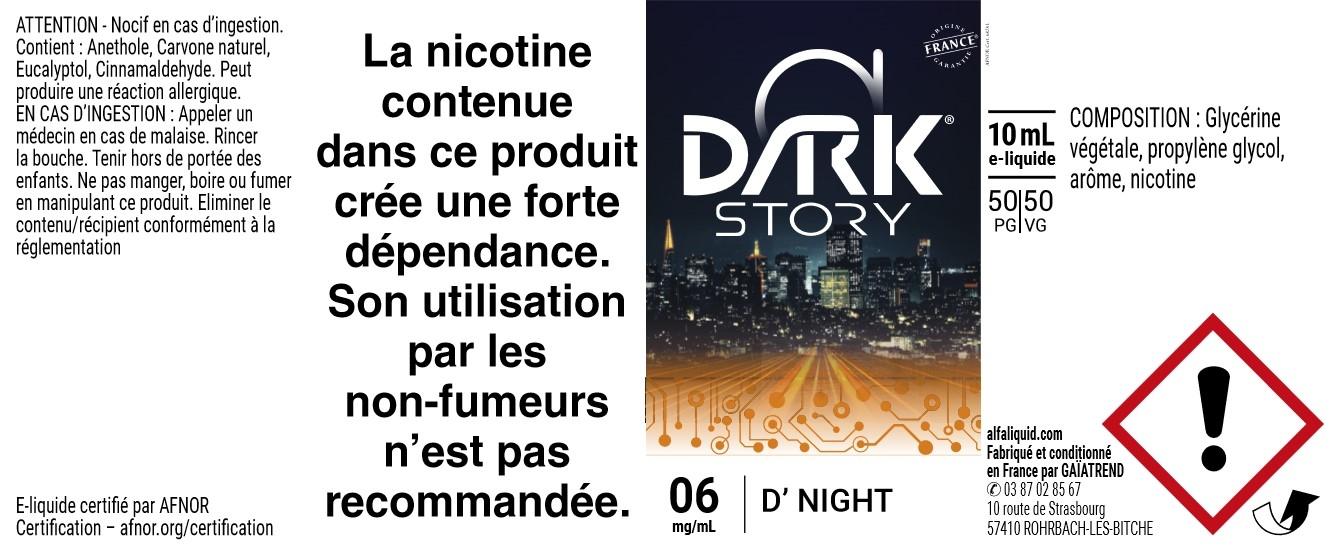 E-Liquide D'Night 10ml - Dark Story | Alfaliquid étiquette 6 mg