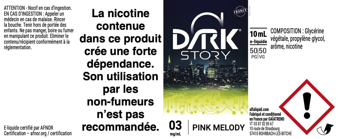 E-Liquide PINK MELODY 10ml - Dark Story | Alfaliquid étiquette 3 mg